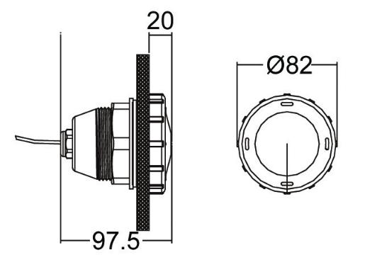 Габаритные размеры галогенового прожектора Emaux UL–P50
