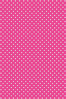 Подарочная бумага (упаковочная) ярко розового цвета в белый горошек