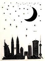 Виниловая наклейка для ноутбука Город не спит