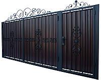 Кованые ворота и калитка  В-02 с ПРОФНАСТИЛОМ