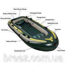 Четырехместная надувная лодка Intex 68351 Seahawk 4 Set, 351 х 145 х 48 см , фото 2