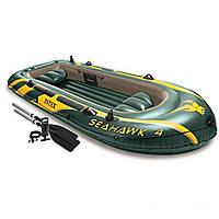 Четырехместная надувная лодка Intex 68351 Seahawk 4 Set, 351 х 145 х 48 см , фото 1