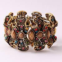 Винтажный браслет с разноцветными камнями