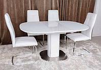 Современный обеденный раскладной стол Бостон (Boston), цвет белый, столешница МДФ, каленое стекло