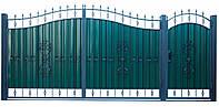 Кованые ворота и калитка  ВД-02 с ПРОФНАСТИЛОМ
