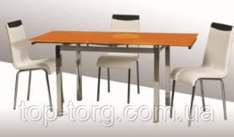 Стол ТВ014 оранжевый 960(+2вставки по 30)х700мм раскладной, без узоров