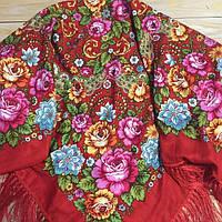 Модный платок для девушки красного цвета (110х110см, 80%-шерсть, красный)