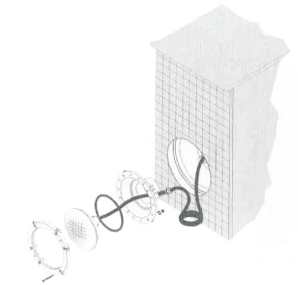 монтаж галогенного прожектора Kripsol РHМ300.С под бетон