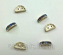 Розділювачі для намистин на 2 нитки Preciosa (Чехія) 13 x 6 мм Crystal Bermuda Blue/срібло