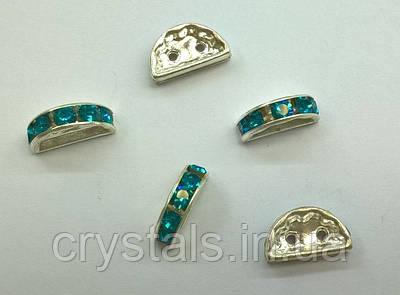 Разделители для бусин на 2 нити Preciosa (Чехия) 13x6 мм Blue Zircon/серебро