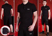 Комплект Reebok футболка поло (черная) + шорты и барсетка Nike в ПОДАРОК !, фото 1