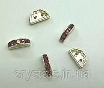 Розділювачі для намистин на 2 нитки Preciosa (Чехія) 13 x 6 мм Light Amethyst/срібло