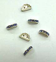 Разделители для бусин на 2 нити Preciosa (Чехия) 13x6 мм Tanzanite/серебро