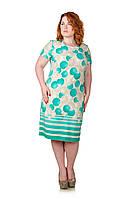 Летнее платье размер плюс Монро мята 52-58