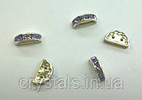 Розділювачі для намистин на 2 нитки Preciosa (Чехія) 13 x 6 мм Violet/срібло