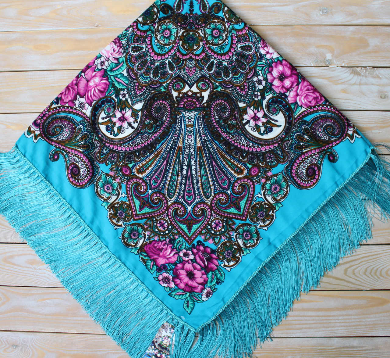 Женский платок с цветами (115х115см, бирюзовый, 80%-шерсть)