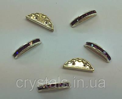 Разделители для бусин на 2 нити Preciosa (Чехия) 19x7 мм Amethyst/серебро