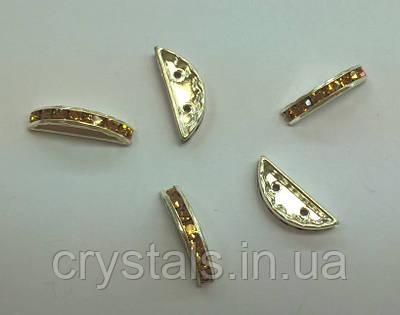 Разделители для бусин на 2 нити Preciosa (Чехия) 19x7 мм Light Colorado Topaz/серебро
