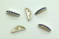 Разделители для бусин на 2 нити Preciosa (Чехия) 19x7 мм Tanzanite/серебро