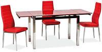 Стол ТВ014 красный 960(+2вставки по 30)х700мм раскладной, без узоров