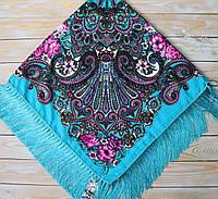 Яркий женский платок с цветами (115х115см, ,бирюзовый, 80%-шерсть)