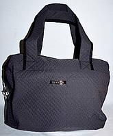 Женская сумка стеганная из плащевки 33*30 (темный серый)