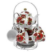 Набор чайный: 6 чашек 220 мл + 6 блюдец + заварник 750 мл Красные маки Оселя