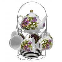 Набор чайный: 6 чашек 220 мл + 6 блюдец + заварник 750 мл Фиолетовые цветы Оселя 21-245-018