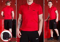 Комплект Reebok футболка поло (красная) + шорты и барсетка Nike в ПОДАРОК ! Есть ОПТ, фото 1