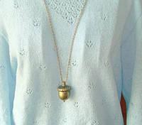 Модный кулон на шею Жолудь золотистый