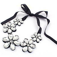 Ожерелье воротник накладной с камнями Цветы