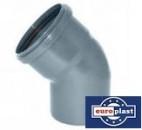 Отвод (колено) 110х22,5º ПП Европласт с раструбом и уплотнительным кольцом для внутренней канализации серый