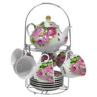 Набор чайный: 6 чашек 220 мл + 6 блюдец + заварник 750 мл Розы (клетка) Оселя