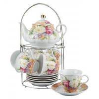 Набор чайный: 6 чашек 220 мл + 6 блюдец + заварник 750 мл Белый цветок Оселя 21-245-015
