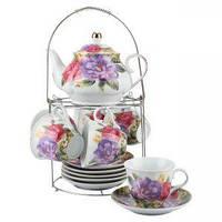 Набор чайный: 6 чашек 220 мл + 6 блюдец + заварник 750 мл Розы Оселя 21-245-016
