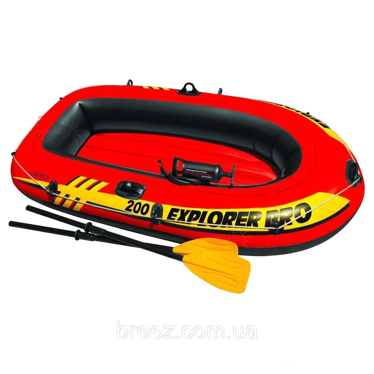 Полутораместная надувная лодка Intex 58357 Explorer Pro 200 Set, 196 х 102 х 33 см