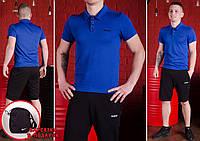 Комплект Reebok футболка поло (синяя) + шорты и барсетка Nike в ПОДАРОК !, фото 1