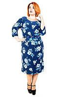 Трикотажное женское платье большого размера БРОШЬ ОРХИДЕЯ ТМ Ирмана 52-58 размеры