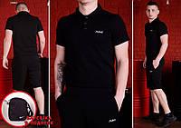 Комплект Mr.Bull футболка поло (черная) + шорты и барсетка Nike в ПОДАРОК !, фото 1