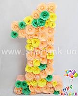 """Декоративная цифра """"1"""" ручной работы с цветочками"""