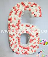 """Декоративная цифра """"6"""" ручной работы с цветочками"""