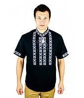 Вишиті сорочки. Чорна вишита футболка. Чоловіча вишиванка. Сорочки чоловічі., фото 1