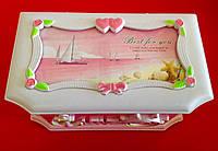 Музыкальная детская шкатулка в морском стиле розовая