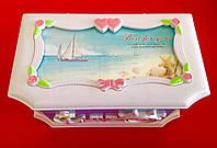 Музыкальная детская шкатулка в морском стиле бирюза
