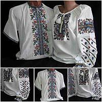 """Вышитые парные рубашки для семьи """"Летний вечер2"""", домотканка, 42-58 р-ры, 1160/1060 (цена за 1 пару + 100 гр.)"""