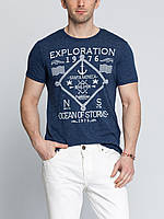 Мужская футболка LC Waikiki синего цвета с надписью на груди Exploration