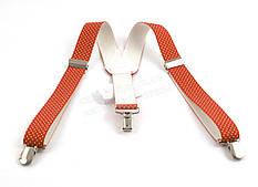 Детские подтяжки-резинка рыжего цвета в белый горошек цвета (100413)
