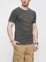 Мужская футболка LC Waikiki серого цвета с надписью на груди Brooklyn
