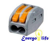 Клемма 2х контактная для распределительных коробок WAGO 222-412, подключ. люстр, светильн,  0,08-2,5мм2, 4мм2