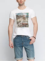 Мужская футболка LC Waikiki белого цвета с картинкой на груди и надписью Old Istanbul